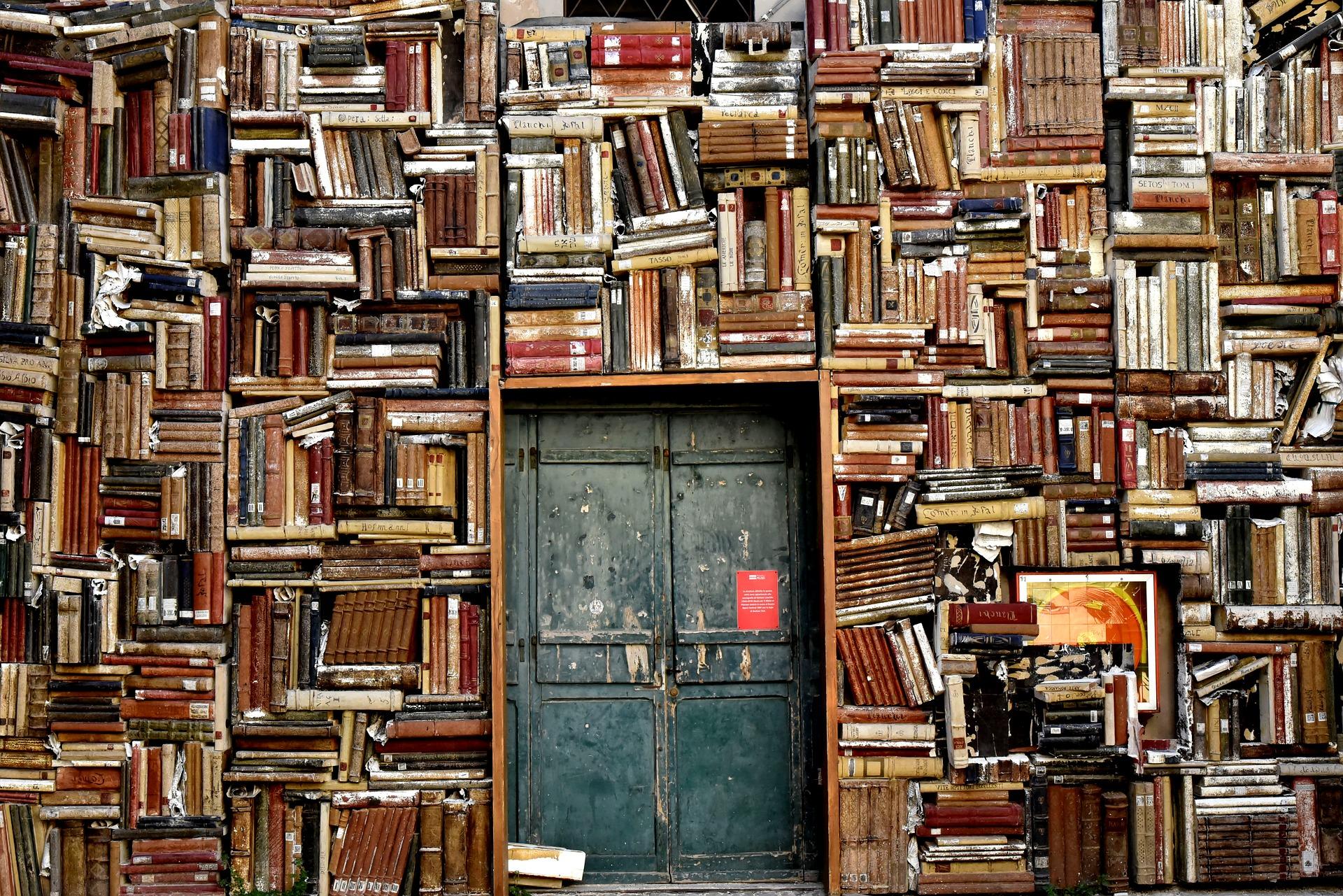 Livres recouvrant un mur entier
